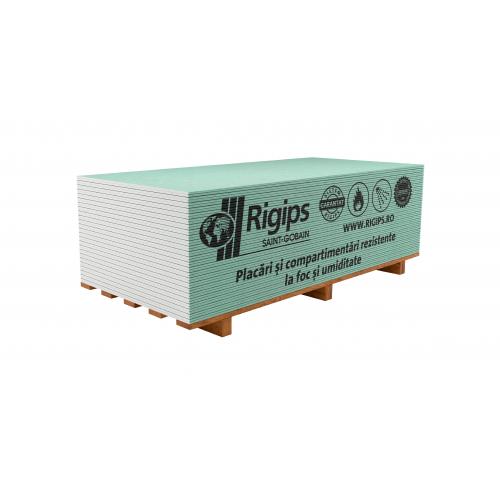 Placa gips-carton rezistenta la foc si umiditate Rigips RFI 12.5x1200x2600 mm