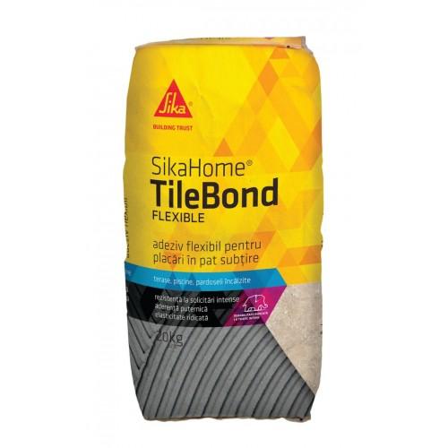 Adeziv flexibil pentru placari ceramice SIkaHome TileBond Flexible - 25kg
