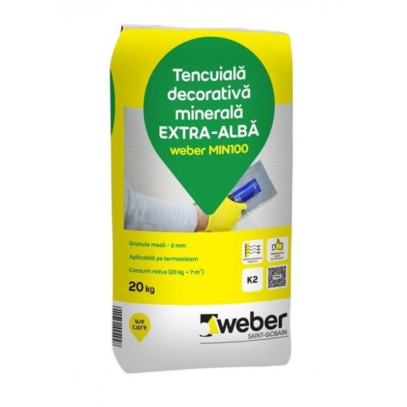 Cea Mai Buna Tencuiala Decorativa Exterior.Tencuiala Decorativa Minerala Extra Alba Weber Min 100 K1 5 20kg